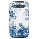 Estampado de flores del azul del vintage galaxy s3 cobertura