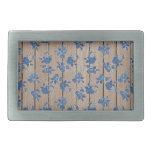 Estampado de flores del azul del vintage hebillas cinturón rectangulares