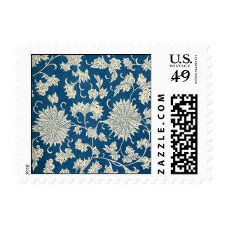 Estampado de flores del azul del vintage sello