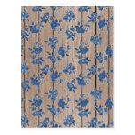 Estampado de flores del azul del vintage tarjeta postal