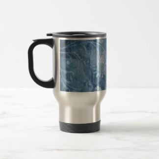 Estampado de flores del azul del vintage taza de café