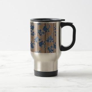 Estampado de flores del azul del vintage tazas