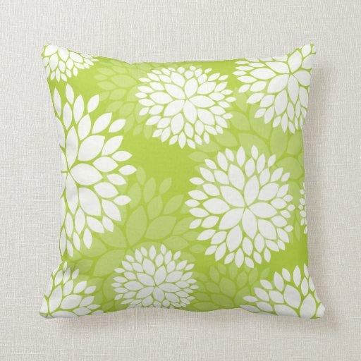 Estampado de flores del blanco de la verde lima almohada