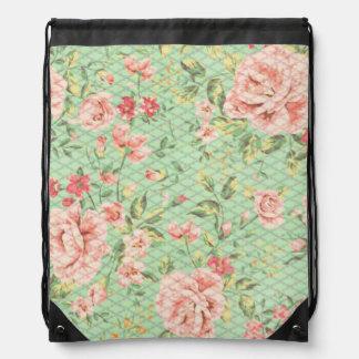Estampado de flores del enrejado de la cabaña mochilas