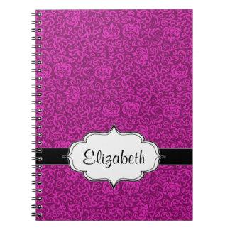 Estampado de flores del fucsia de las rosas notebook