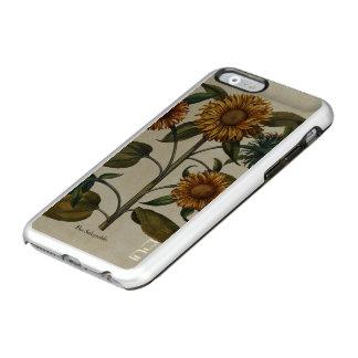 Estampado de flores del girasol del vintage funda para iPhone 6 plus incipio feather shine