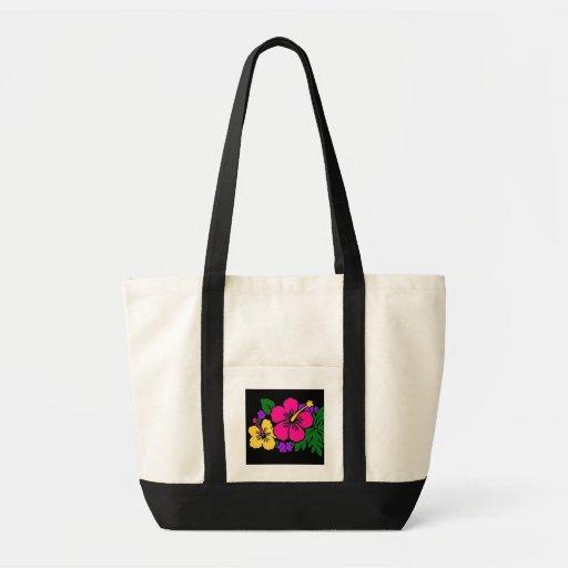 Estampado de flores del hibisco bolsa tela impulso
