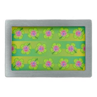Estampado de flores del hibisco hebilla de cinturón rectangular