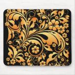 estampado de flores del oro tapete de raton
