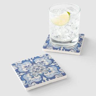 Estampado de flores del portugués de Azulejo Posavasos De Piedra