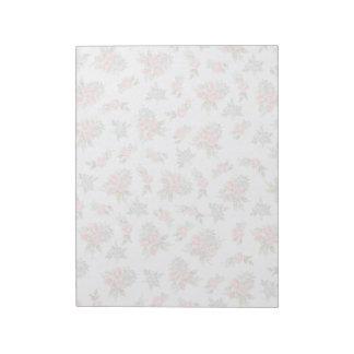 Estampado de flores del rosa de rosas de la cabaña bloc de notas