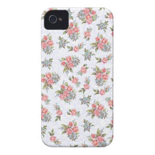 Estampado de flores del rosa de rosas de la cabaña Case-Mate iPhone 4 funda