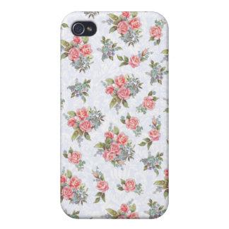 Estampado de flores del rosa de rosas de la cabaña iPhone 4/4S fundas