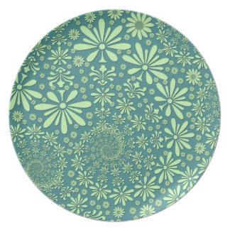 Estampado de flores del verde y del azul del trull plato de cena