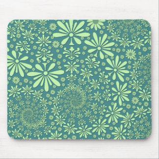 Estampado de flores del verde y del azul del trull tapetes de raton