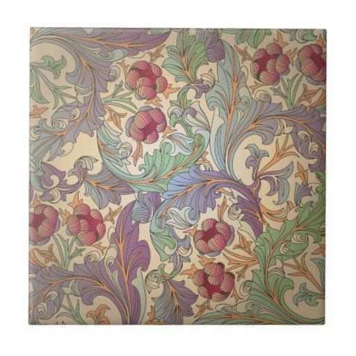 Estampado de flores del vintage - 5 azulejo ceramica