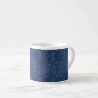Estampado de flores del vintage - azul en azul tazitas espresso