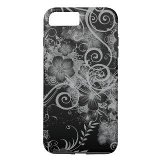 Estampado de flores del vintage blanco y negro funda iPhone 7 plus