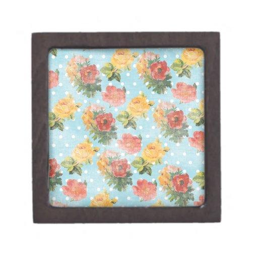 Estampado de flores del vintage cajas de regalo de calidad