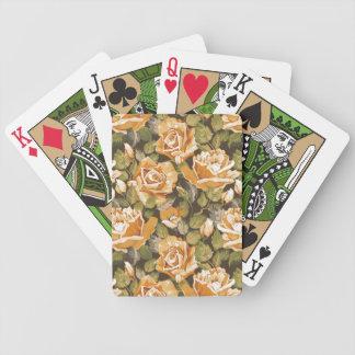 Estampado de flores del vintage de rosas amarillos baraja cartas de poker