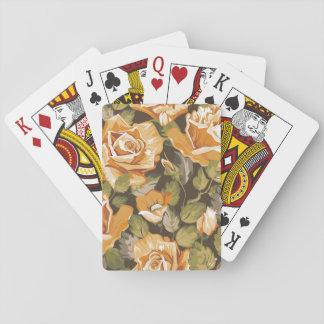 Estampado de flores del vintage de rosas amarillos baraja de cartas