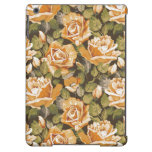 Estampado de flores del vintage de rosas amarillos funda para iPad air