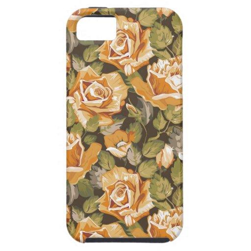 Estampado de flores del vintage de rosas amarillos funda para iPhone 5 tough