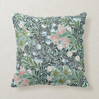 Estampado de flores del vintage en suavemente verd cojin
