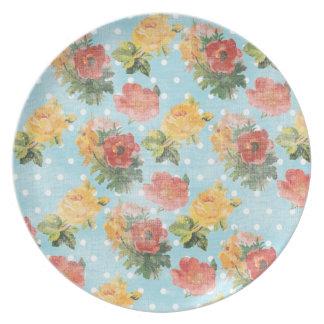 Estampado de flores del vintage plato de cena