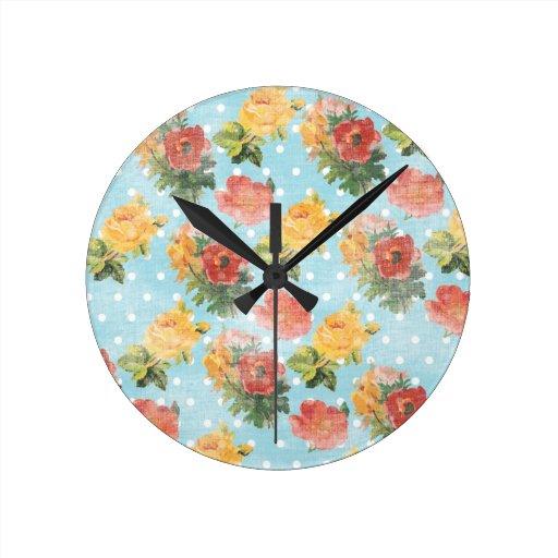 Estampado de flores del vintage relojes