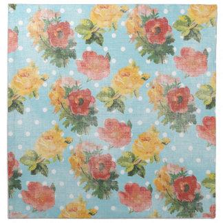 Estampado de flores del vintage servilletas imprimidas