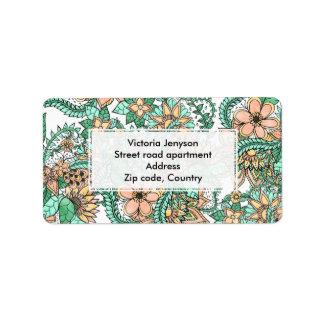 Estampado de flores dibujado mano verde coralina etiquetas de dirección