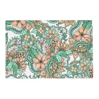 Estampado de flores dibujado mano verde coralina salvamanteles