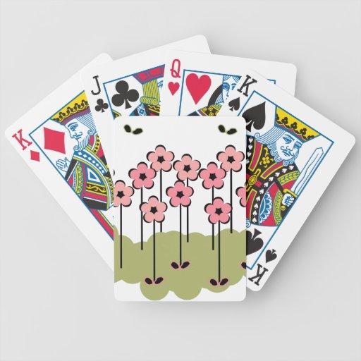 ESTAMPADO DE FLORES ELEGANTE DE CARDS_PINK/GREEN/B BARAJAS DE CARTAS