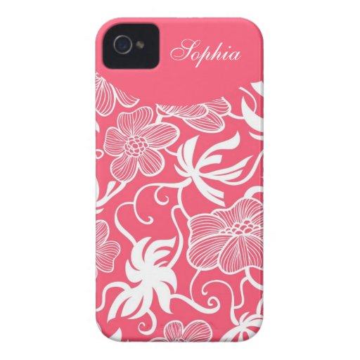 Estampado de flores elegante de las rosas fuertes  iPhone 4 fundas