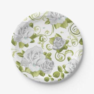 Estampado de flores elegante de los rosas blancos plato de papel 17,78 cm