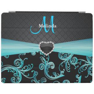 Estampado de flores elegante del negro y de la cubierta de iPad