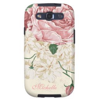 Estampado de flores elegante del rosa del vintage galaxy s3 fundas