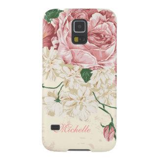 Estampado de flores elegante del rosa del vintage funda para galaxy s5