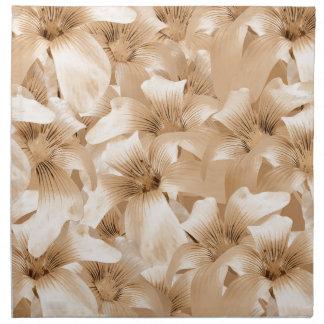 Estampado de flores elegante en tonos ocres servilletas