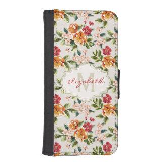 Estampado de flores elegante femenino con nombre funda billetera para teléfono