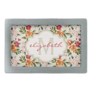 Estampado de flores elegante femenino con nombre hebilla de cinturon rectangular