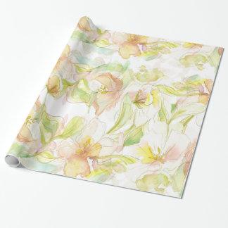 Estampado de flores en colores pastel de la papel de regalo