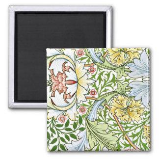 Estampado de flores en colores pastel imán cuadrado