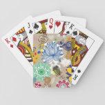 Estampado de flores en el estilo retro 3 barajas de cartas