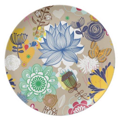 Estampado de flores en el estilo retro 3 plato de cena