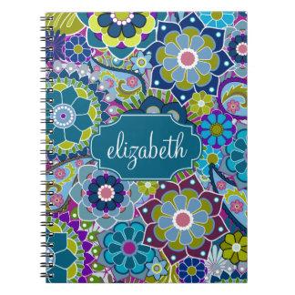 Estampado de flores enrrollado con nombre de spiral notebooks