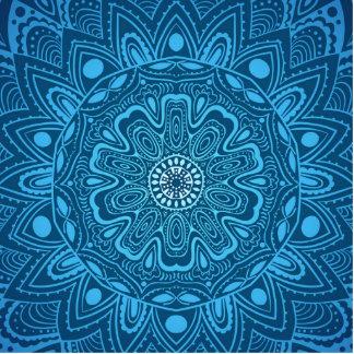 Estampado de flores esférico azul escultura fotografica