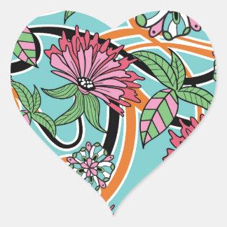 estampado de flores feliz del verano pegatina en forma de corazón