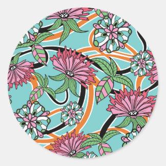 estampado de flores feliz del verano pegatina redonda